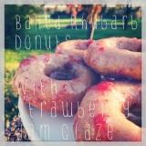 Baked Rhubarb Donuts with Strawberry JamGlaze