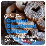 Gluten Free Coconut Shortbread Cookies with Nova Scotia Wild Blueberry Chia Seed Jam Filling